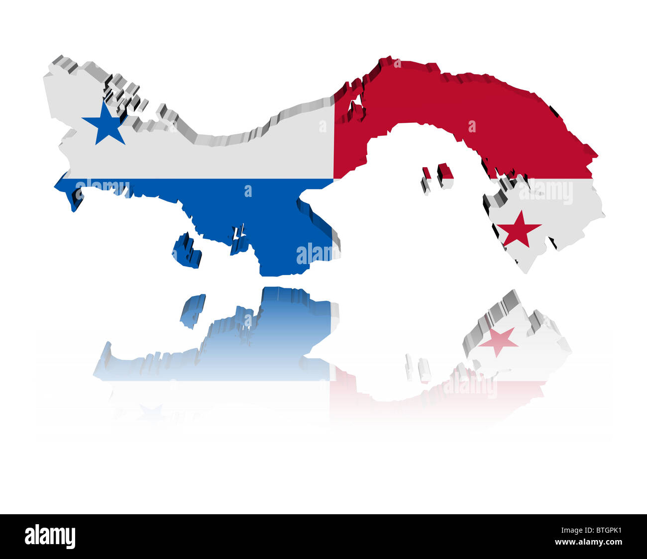 1252882a Panama map flag 3d render with reflection illustration Stock Photo ...