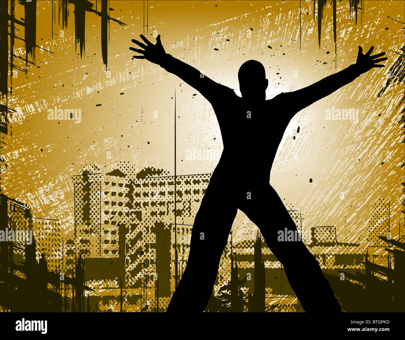 Illustrated design of a man in a city with grunge - Stock Image