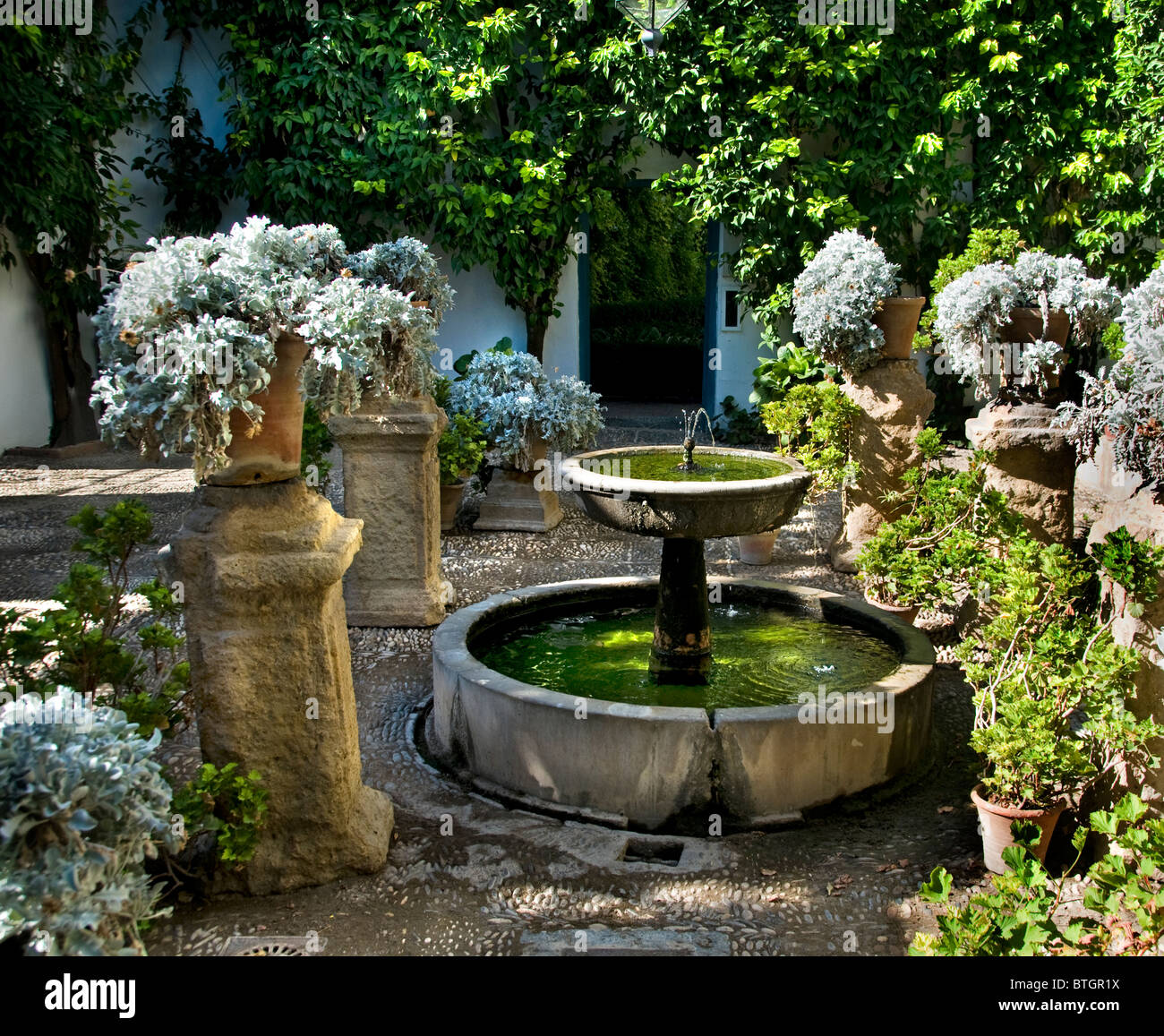 Spain Cordoba patio or courtyard of the Palace Palacio Marques de Viana - Stock Image