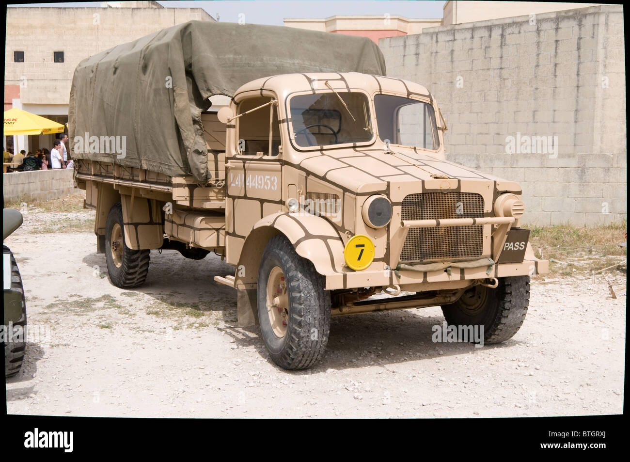 The Bedford lorry is seen taking part in the 2009 Military Mtarfa day. The lorry has been restored in military colours - Stock Image