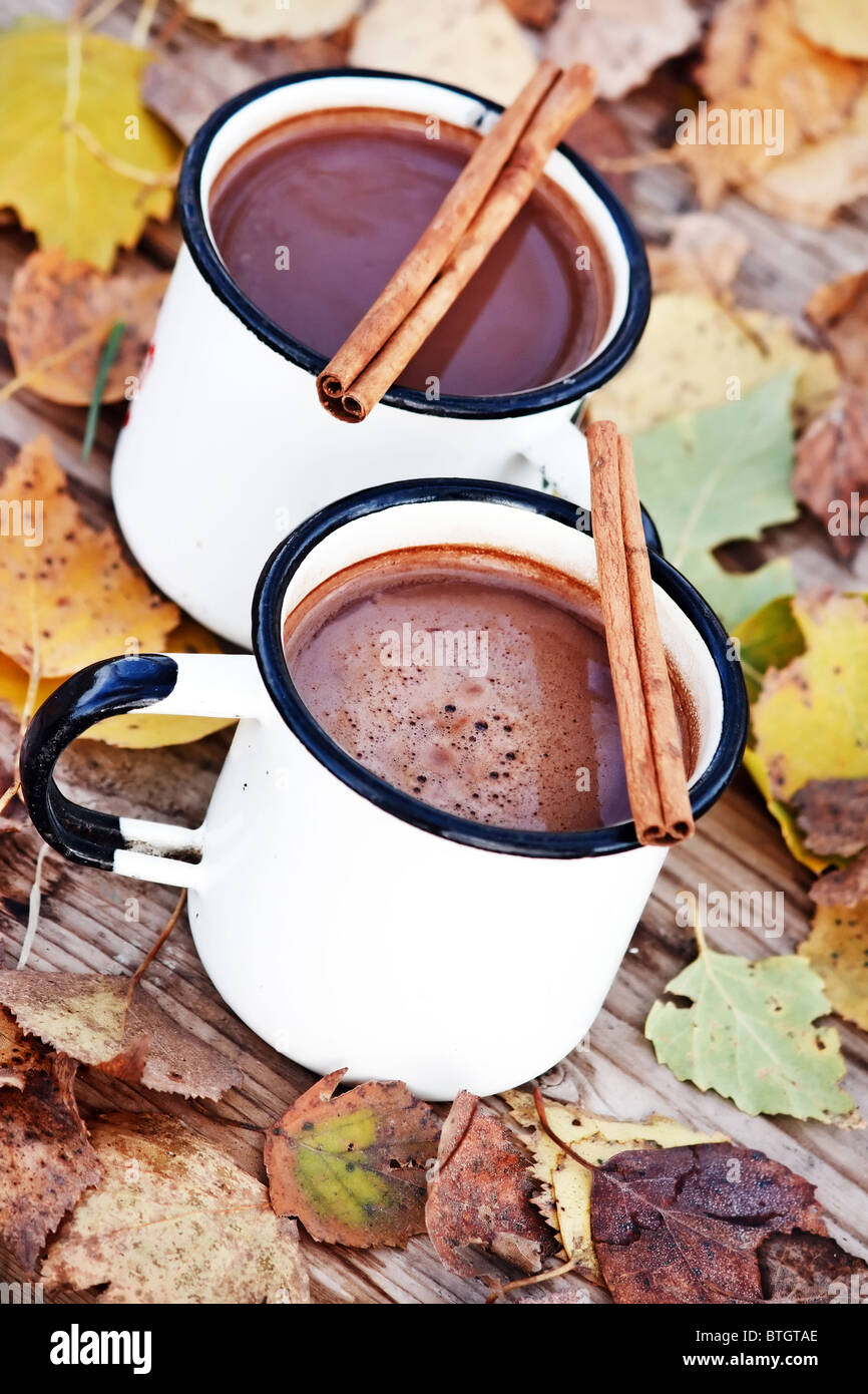 hot chocolate in the white mugs - Stock Image