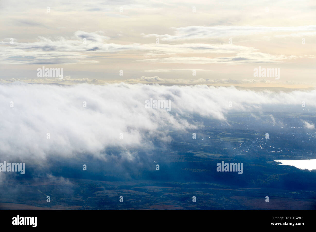 Looking down on to Low cloud over North Lancashire shot from the air, early morning, Northern England - Stock Image