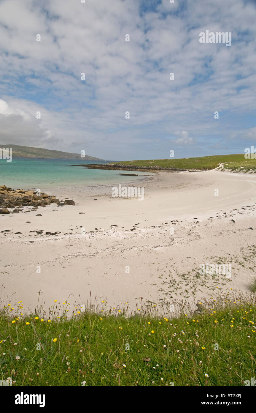 The dunes at Eilean Caragraich, Uidh, Vatersay with view across to Isle of  Barra.  SCO 6569 - Stock Image