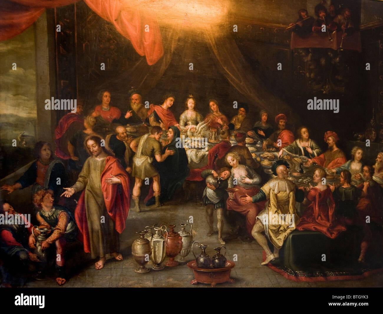 Cordoba Spain The Wedding of Cana Jesus Christ 16 Century Spanish Painting - Stock Image
