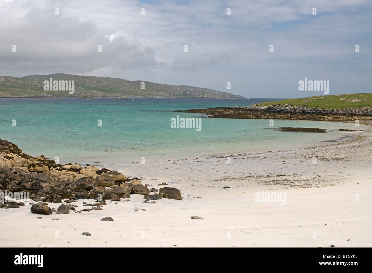 The dunes at Eilean Caragraich, Uidh, Vatersay with view across to Isle of  Barra.  SCO 6568 - Stock Image