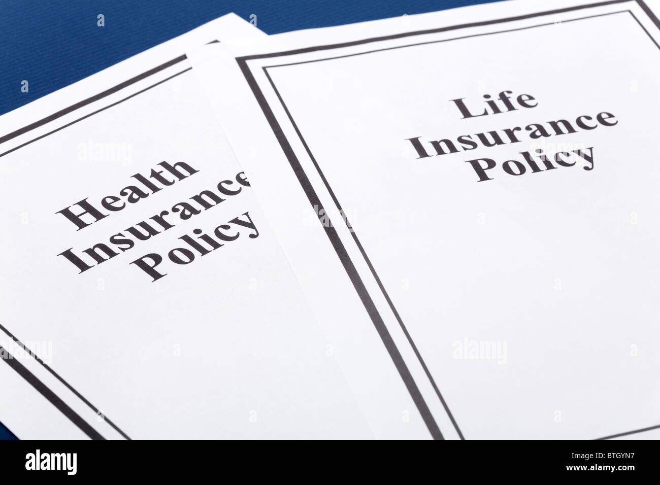 Document of Life and Health Insurance Policy for background - Stock Image