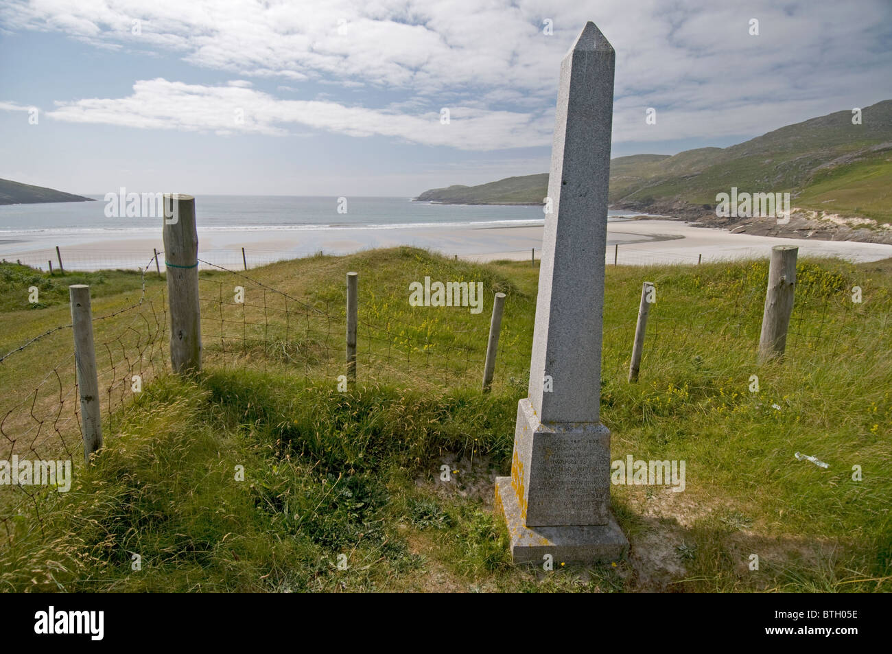 Annie Jane shipwreck Memorial at Bagh Siar or West Bay Isle of Vatersay, Hebrides.  SCO 6573 - Stock Image