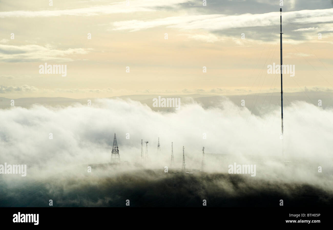 Early morning low cloud around Winter Hill Radio and TV Masts, North West England Stock Photo