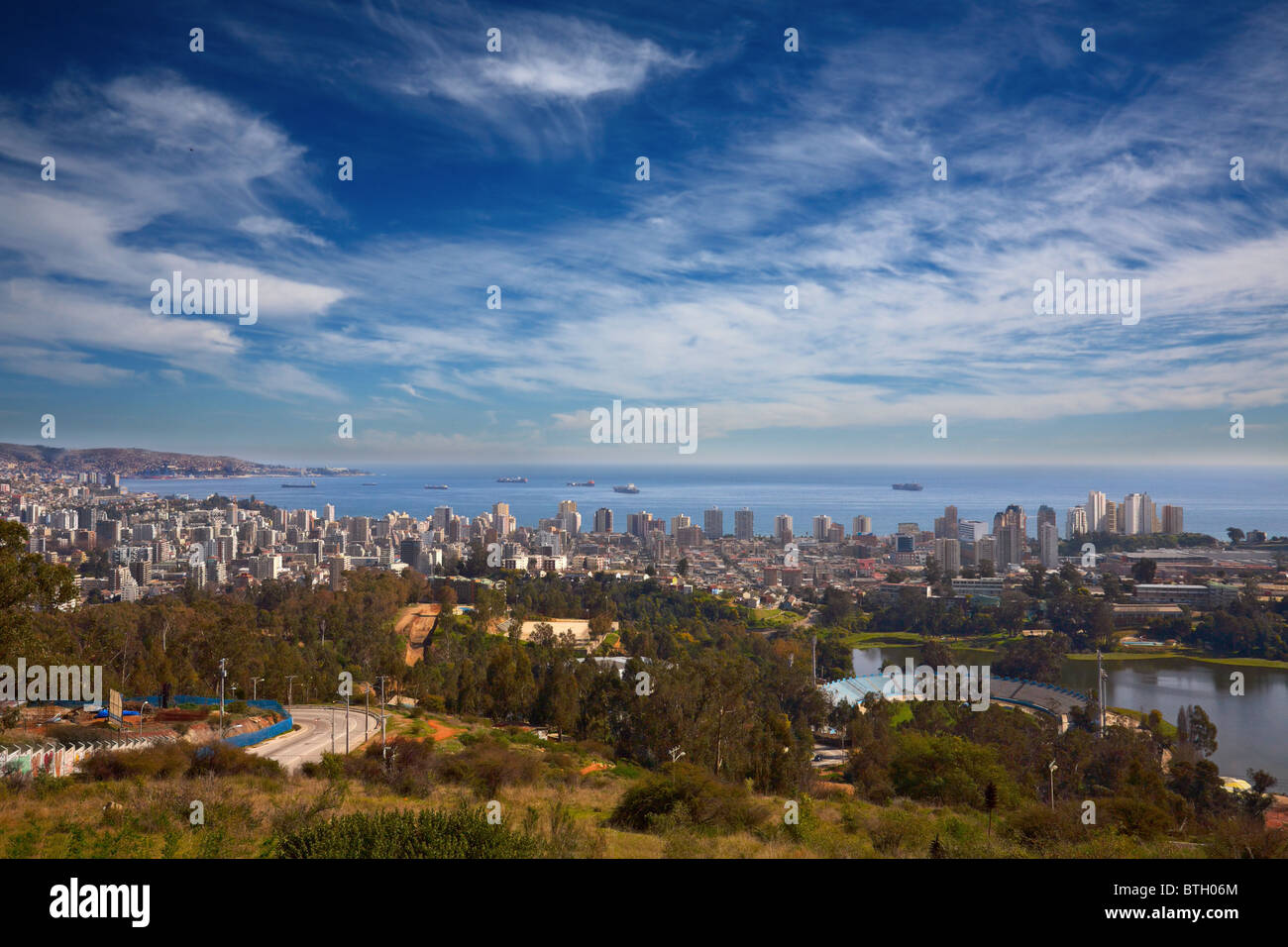 view on Vina del Mar and Valparaiso, Chile - Stock Image
