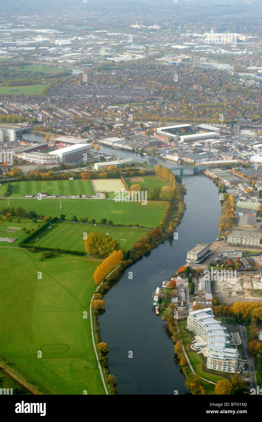 Looking along the River Trent at Nottingham, East Midlands, UK with Notts Forest and Notts County Grounds each side - Stock Image