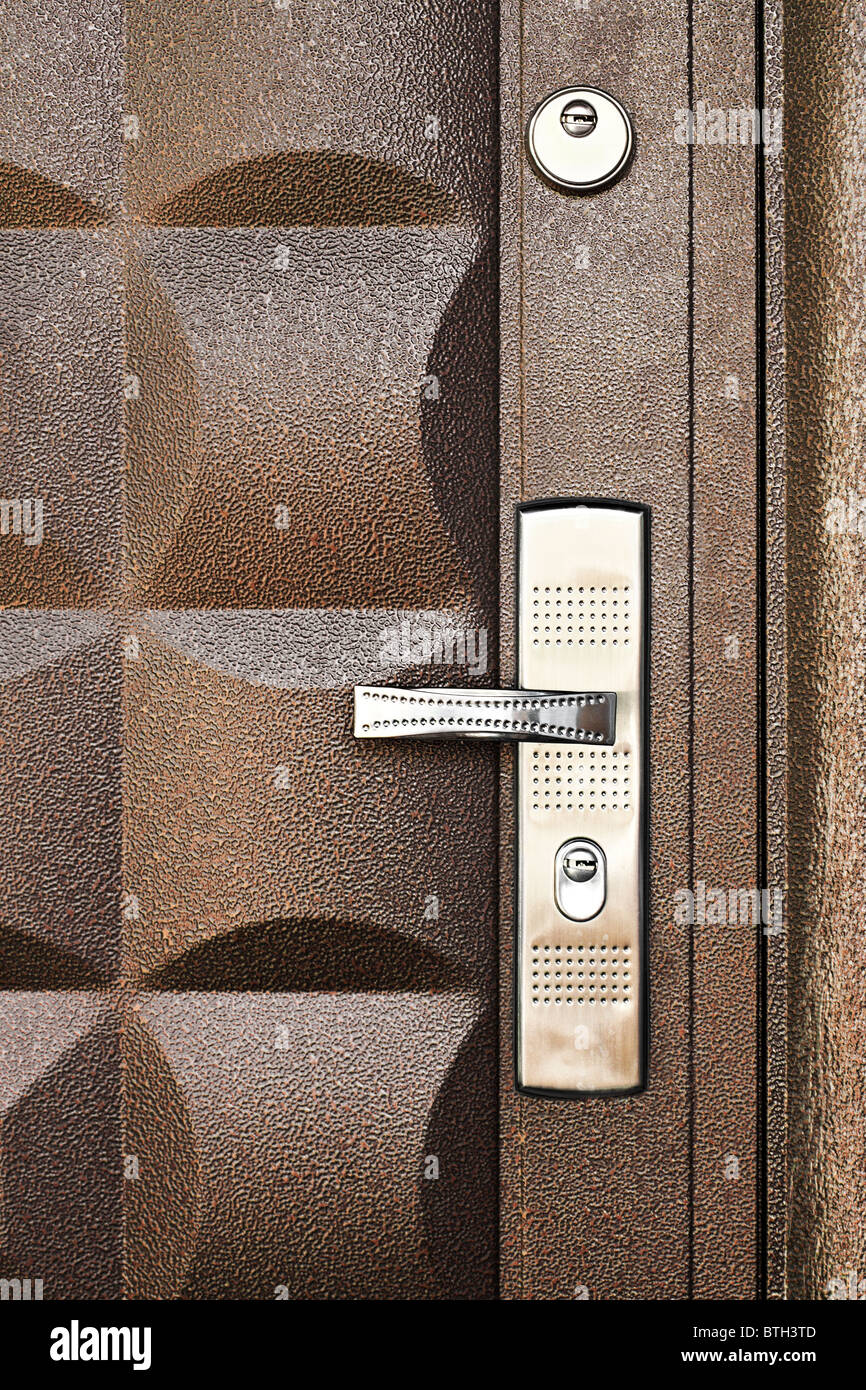 metallic door background - Stock Image