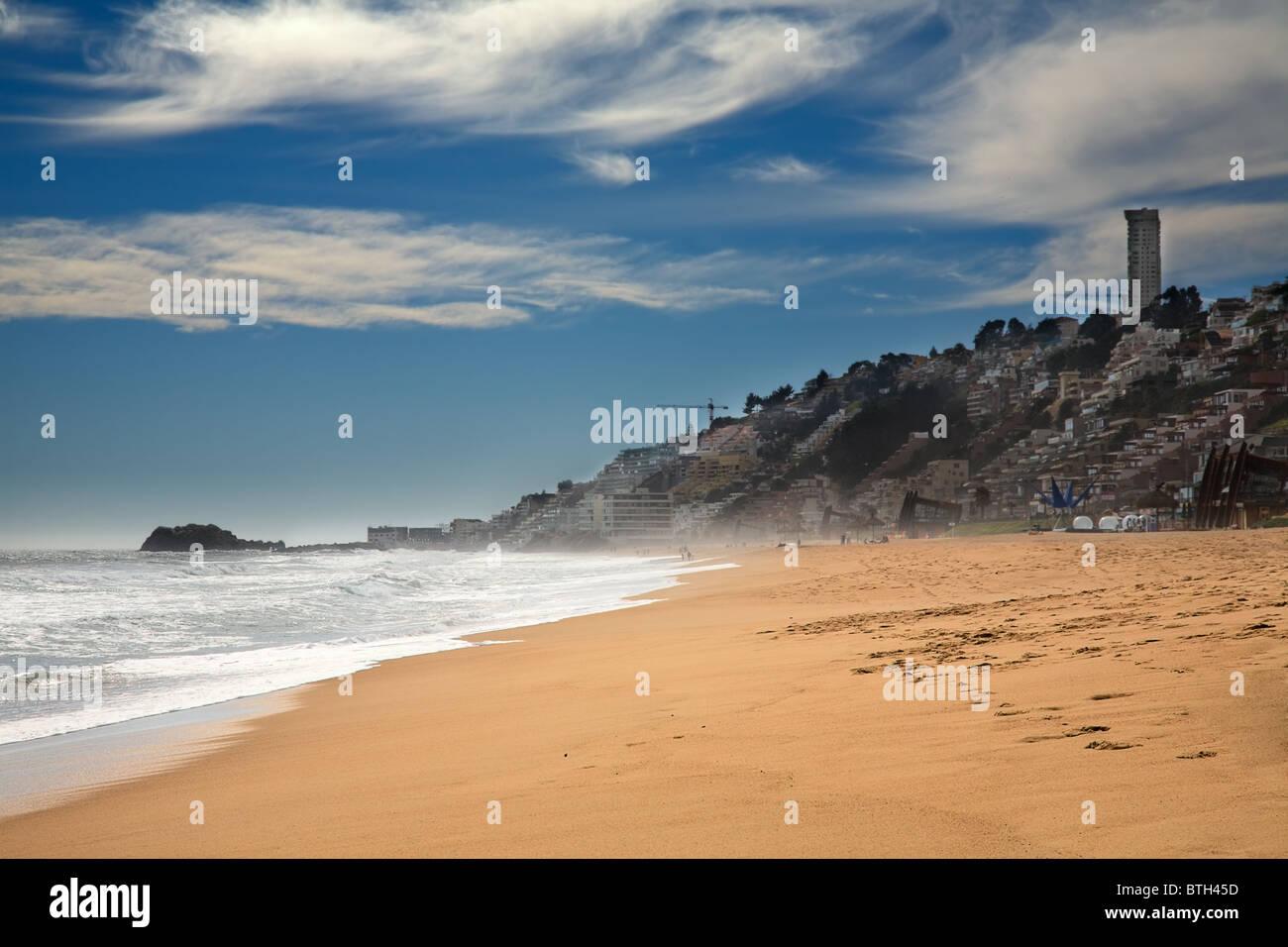 beach at Vina del Mar, Chile - Stock Image