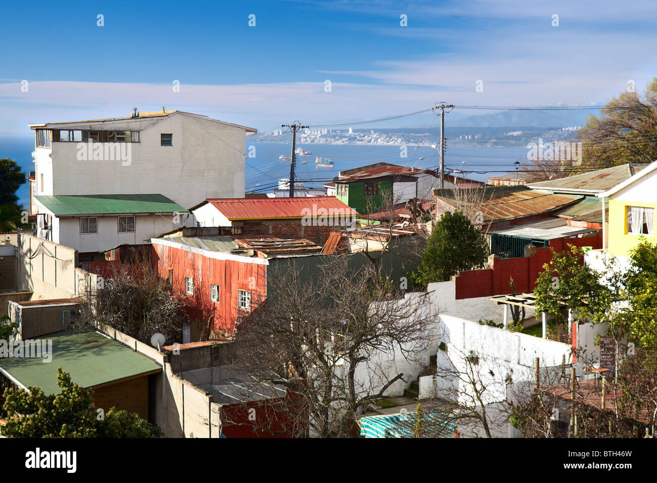 view from Pablo Neruda Museum in Valparaiso, Chile - Stock Image
