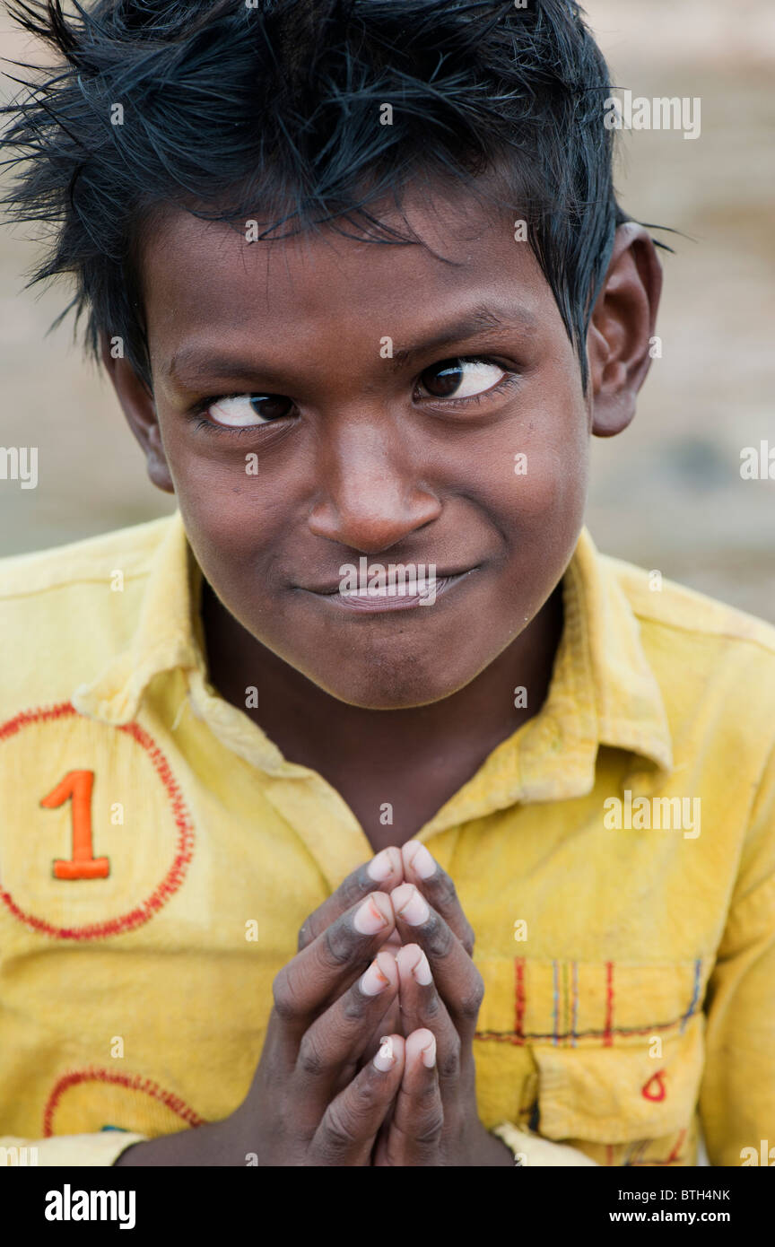 Young Indian Boy Pulling A Funny Face India Stock Image