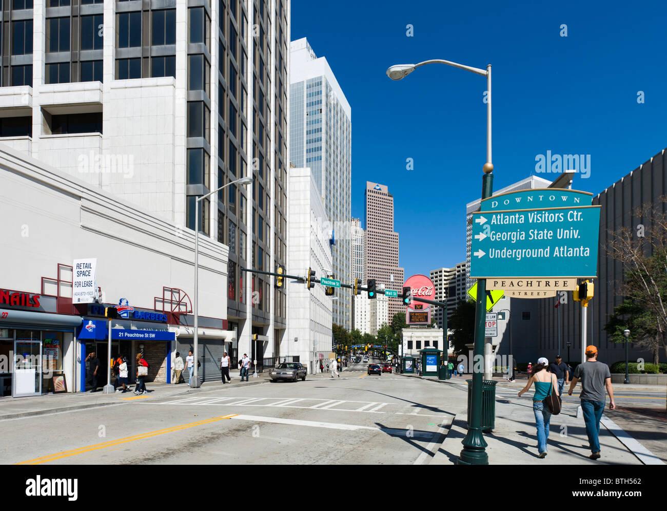 Peachtree Street looking towards Five Points, Downtown Atlanta, Georgia, Usa, USA - Stock Image