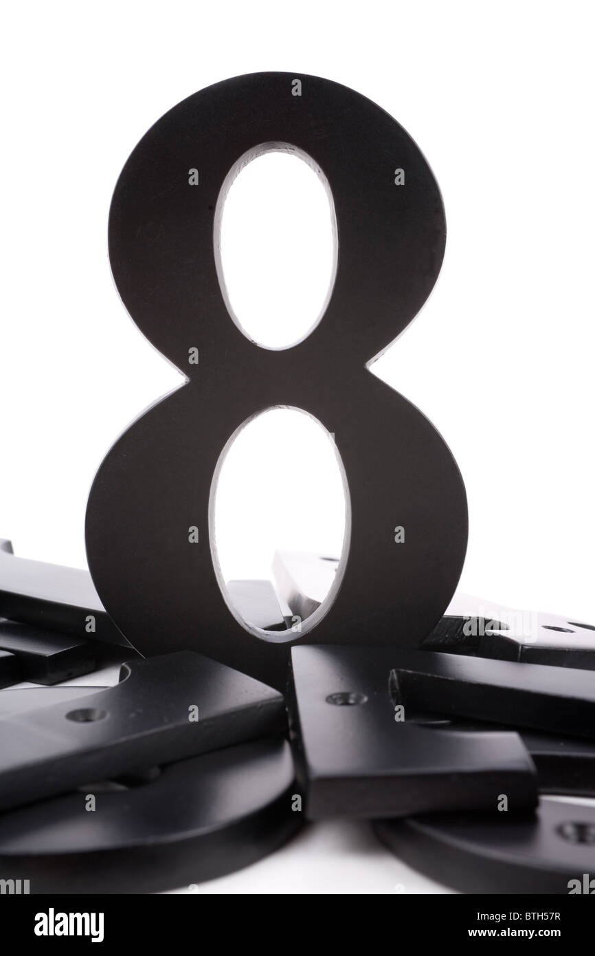 number 8 with white background, concept of teamwork - Stock Image