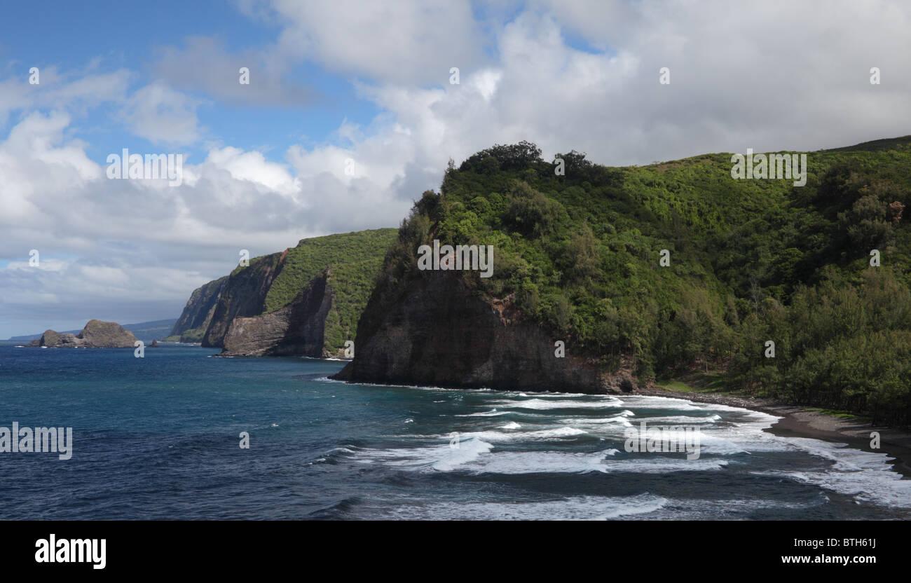 Black sand beach at Pololu Valley and Big Island coastline Stock Photo