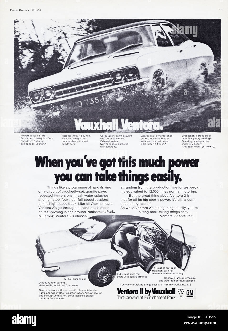 Advertisement for Vauxhall Ventora II cars in Punch magazine