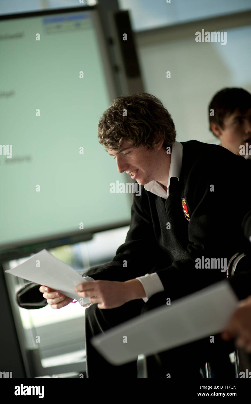 A sixth form year 12 pupil in a secondary school UK - Stock Image