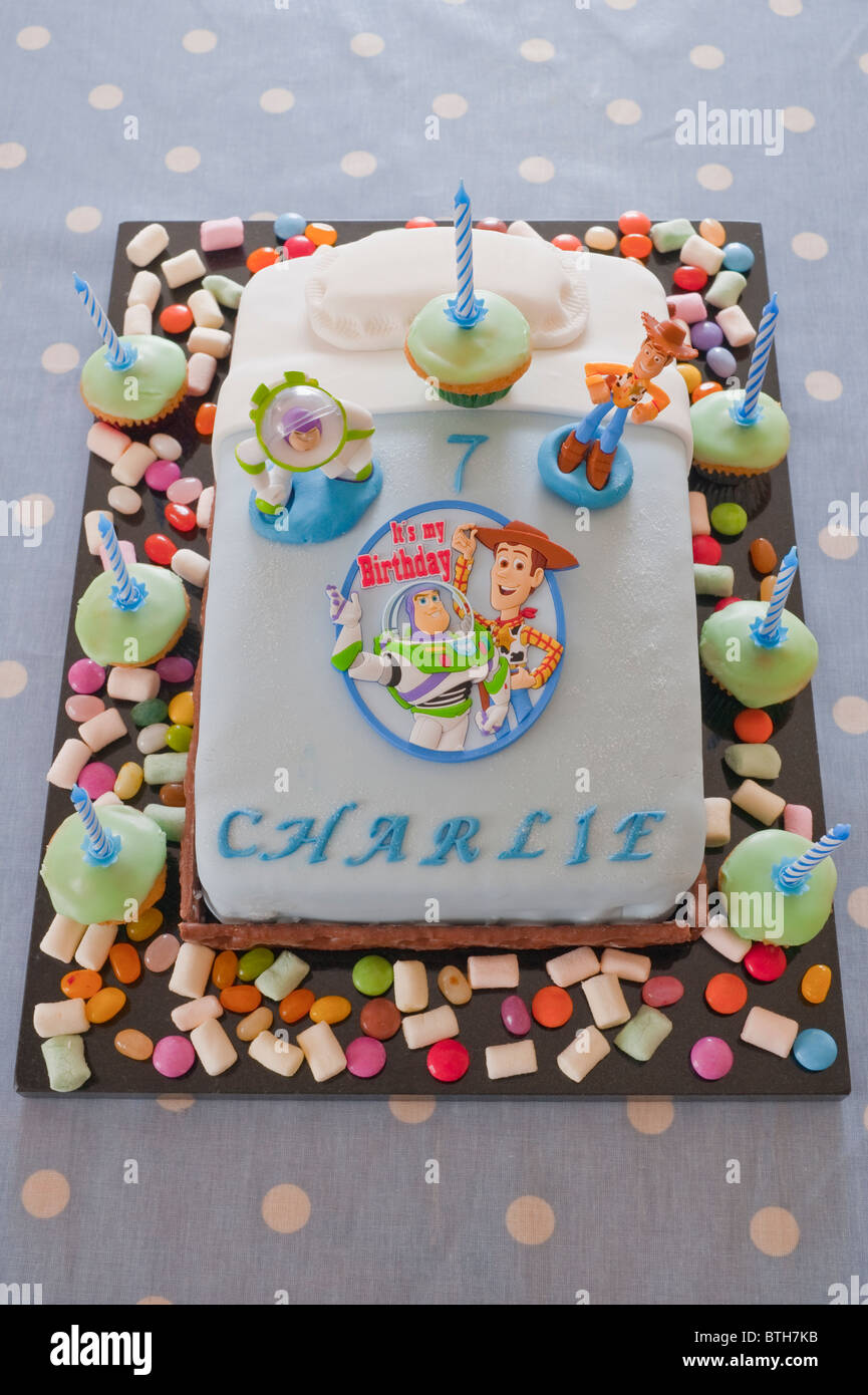 A Toy Story Themed Homemade Birthday Cake For Seven Year Old