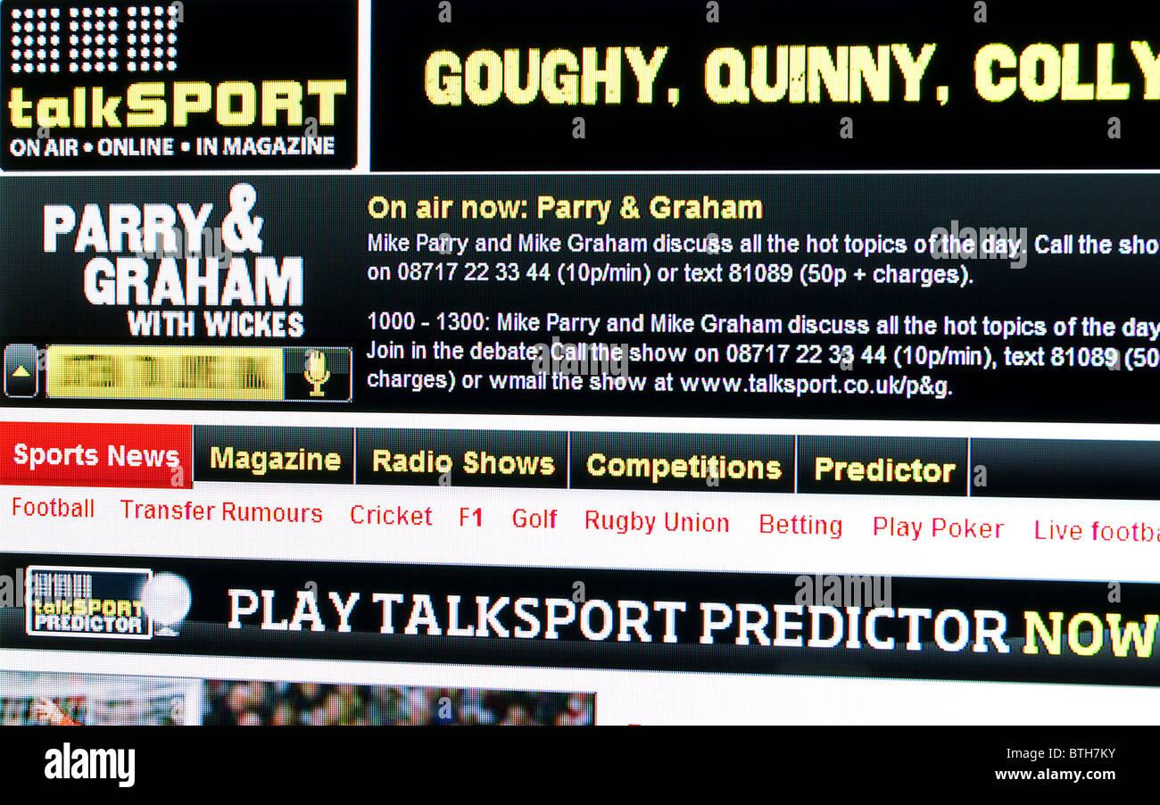 ' Talksport  web page ' - Stock Image
