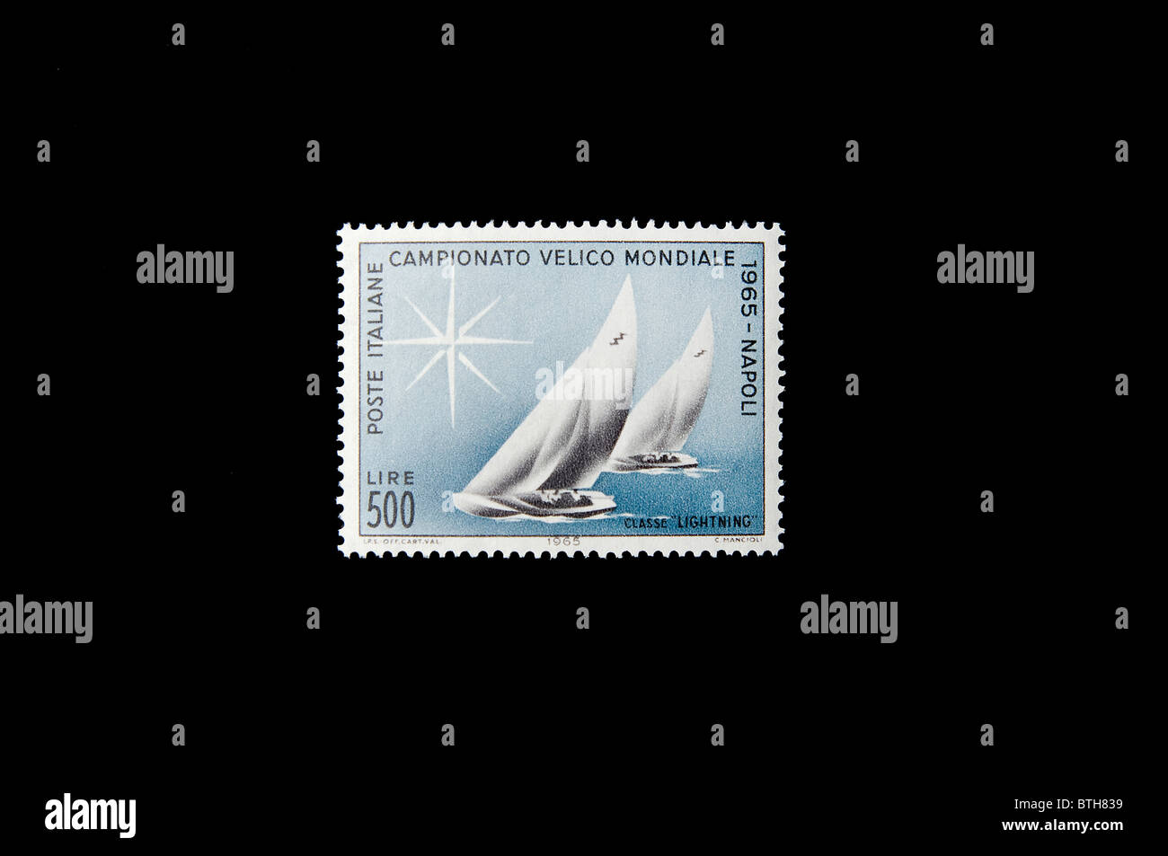 sailing ship in an italian stamp. Stock Photo