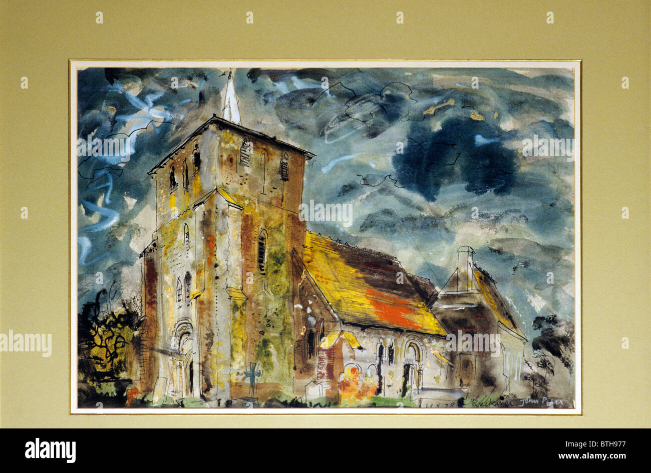 Ruckinge Church, watercolour by John Piper, Rye Art Gallery painting paintings Sussex England UK English painter - Stock Image
