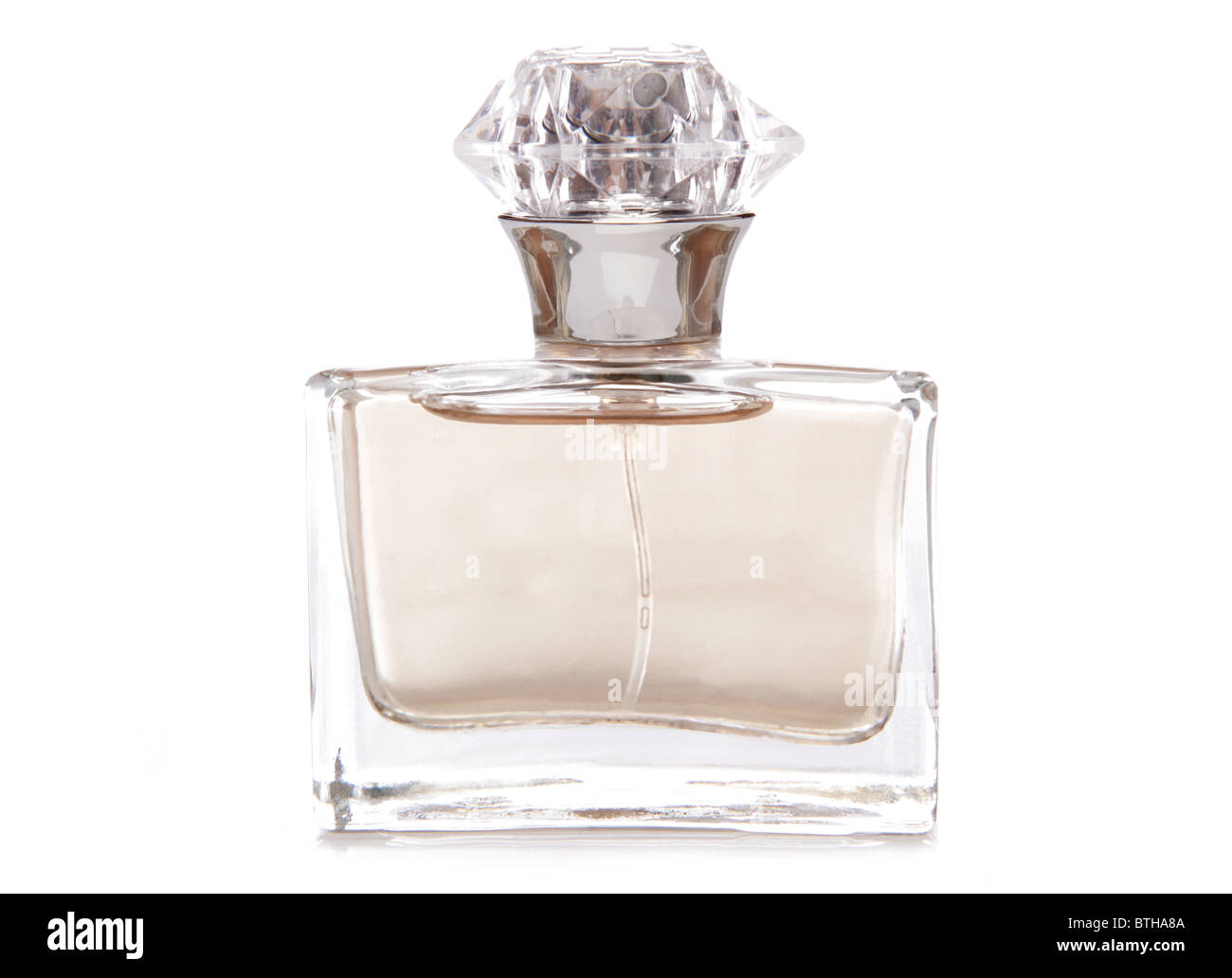 Womens perfume bottle studio cutout - Stock Image
