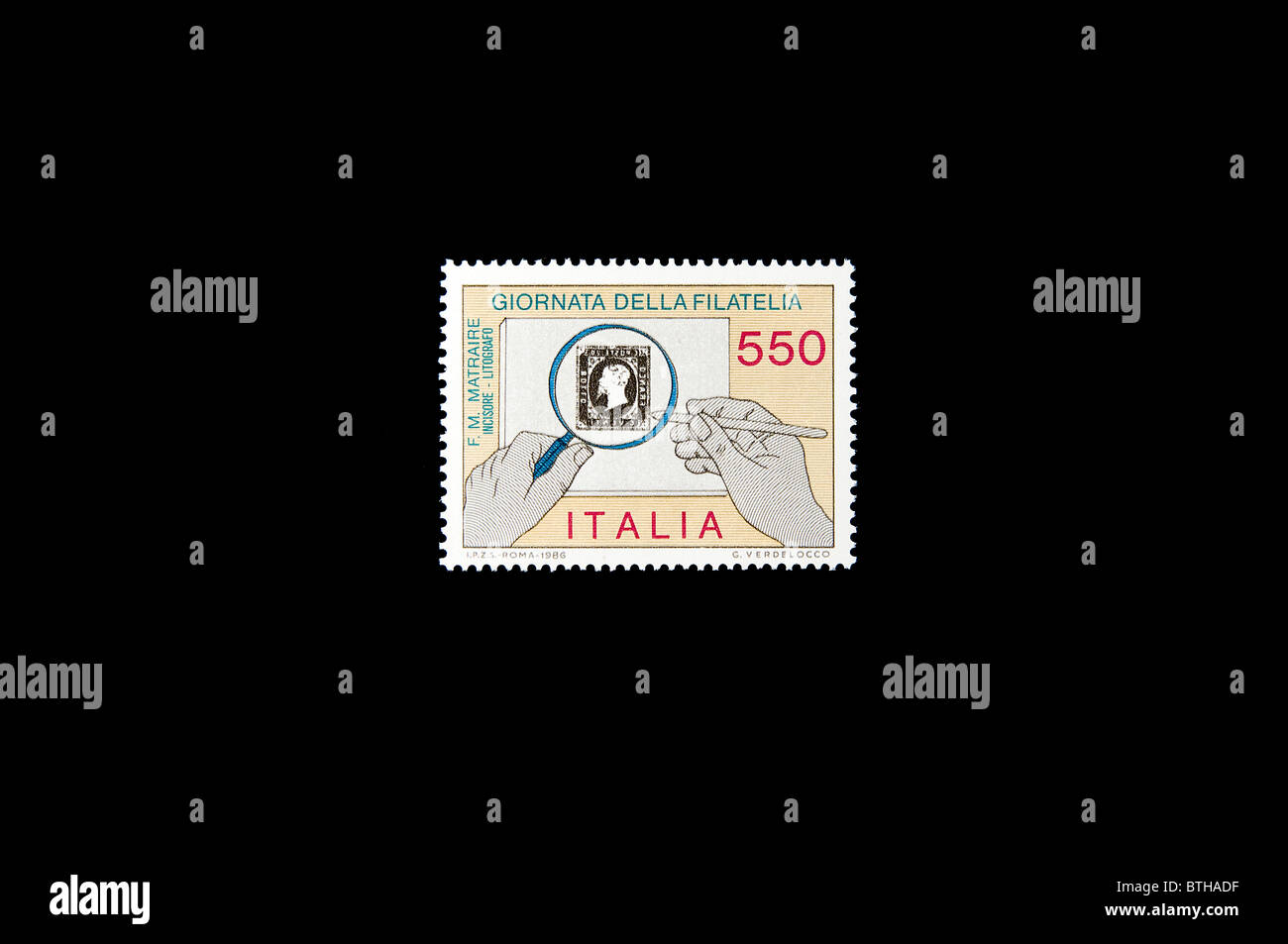 The philately celebration in an italian stamp. - Stock Image