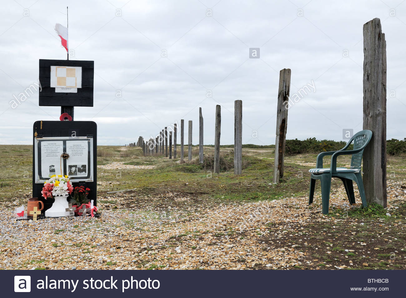 Straight on image of the Polish War Memorial at Dungeness in Kent, England - Stock Image