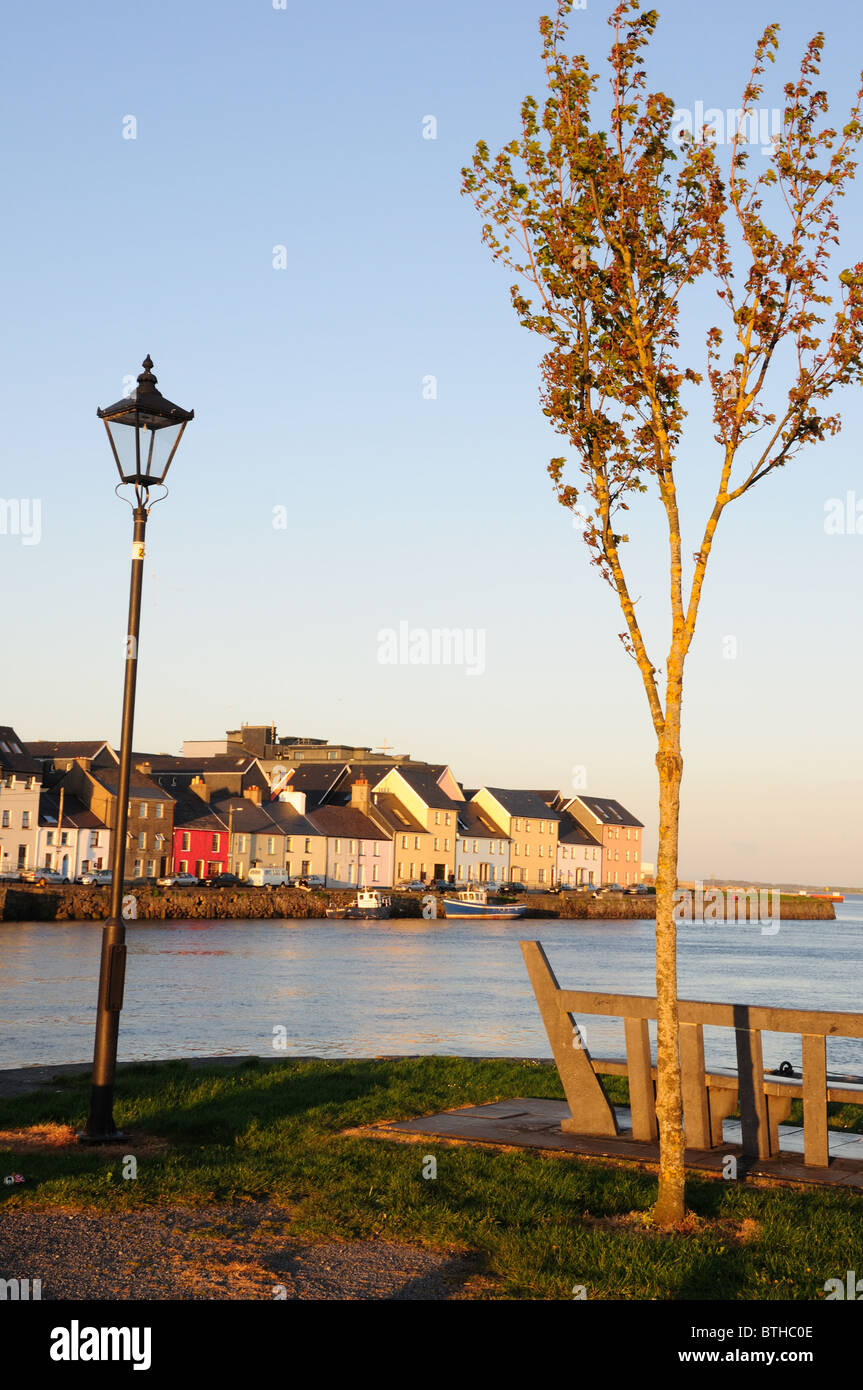 Ballyknow Quay at dusk, Galway City, Republic of Ireland - Stock Image