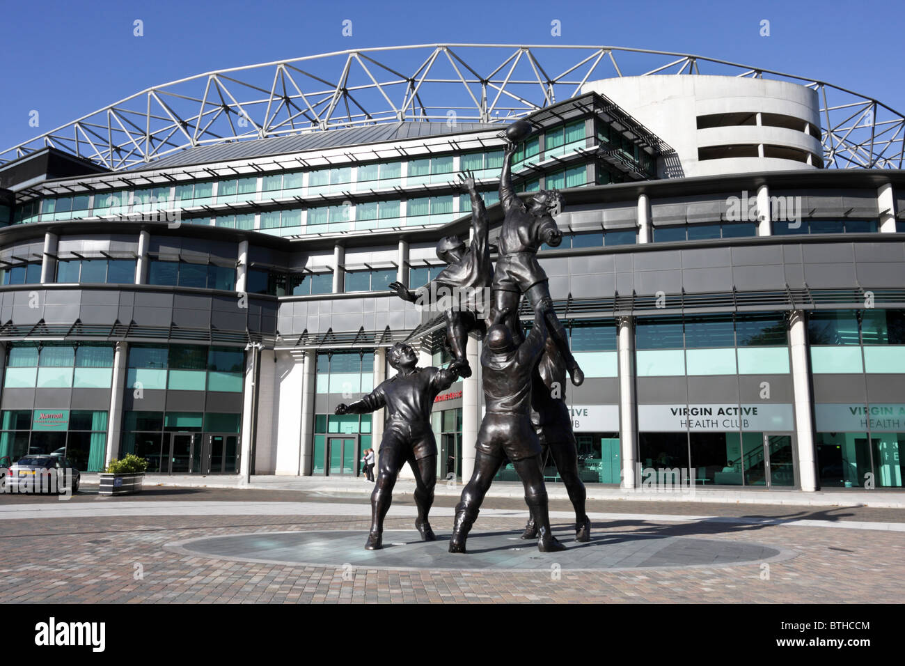 Wonderful statues situated outside the south stand at Twickenham Stadium in Rugby Road. - Stock Image