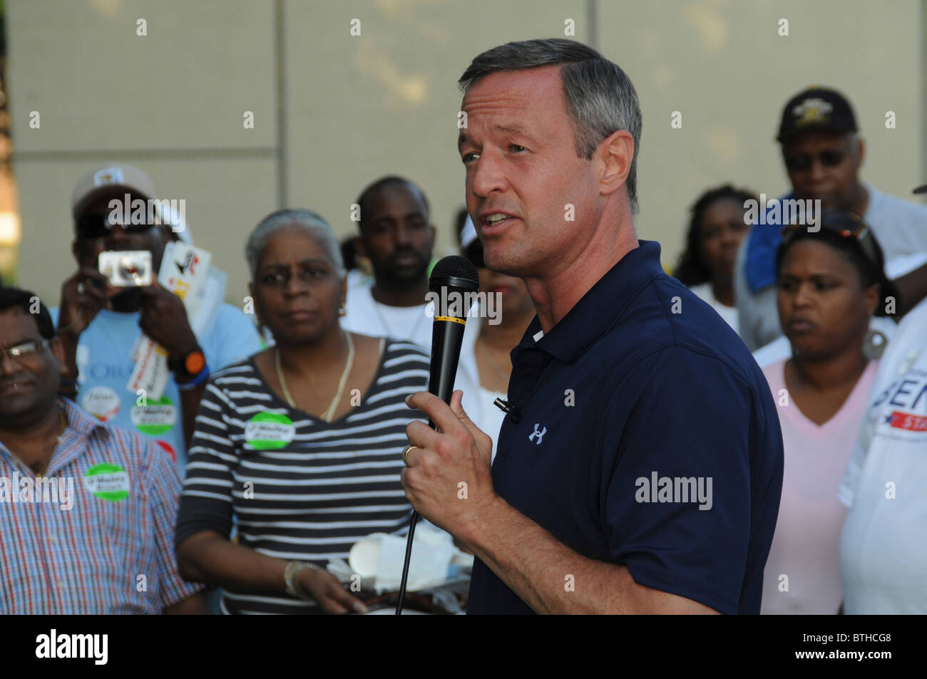 Governor Martin O'Malley of Maryland addresses a crowd of supporters in Largo, Maryland - Stock Image