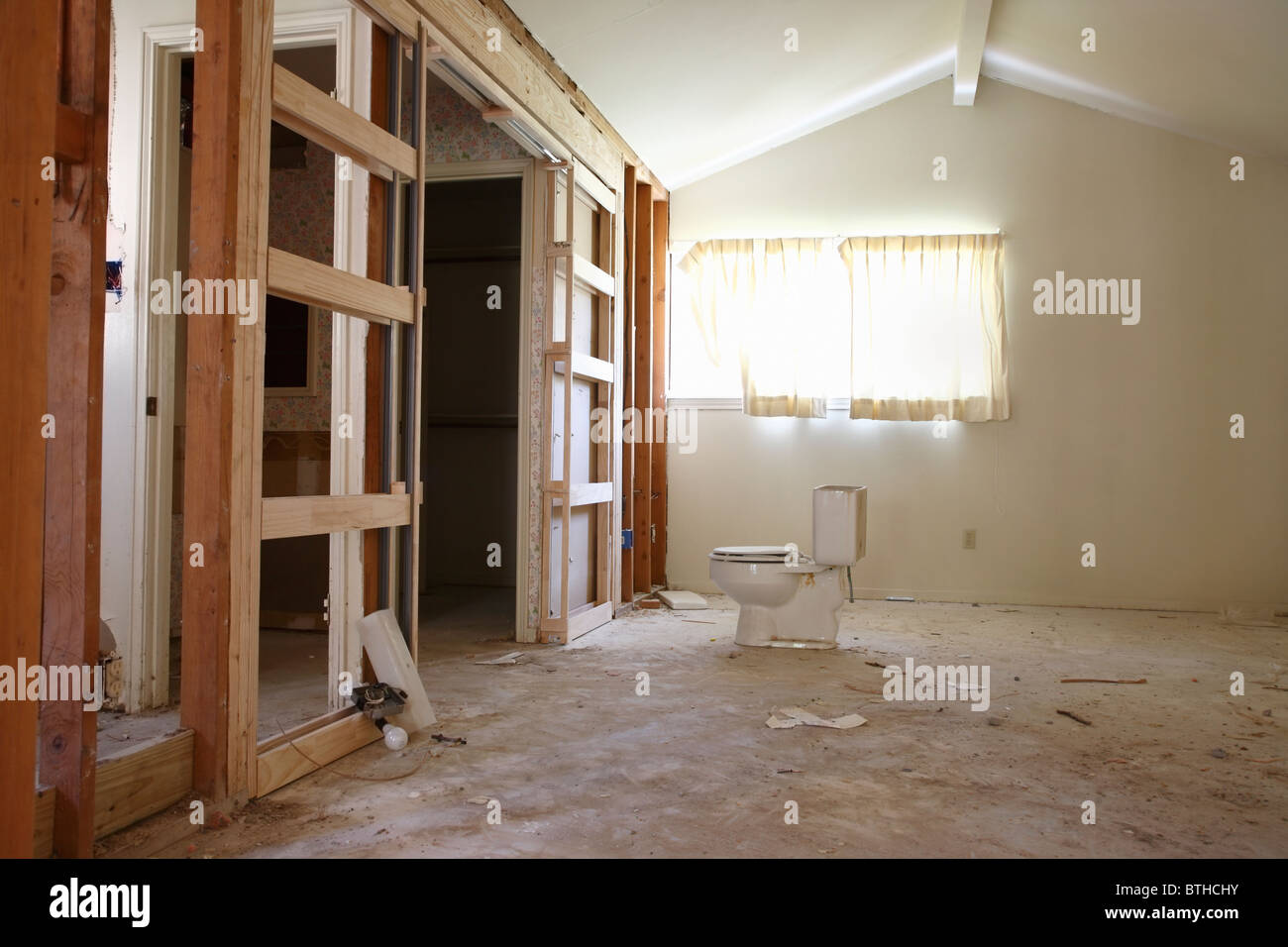 Partition Wall In House Renovation Houston Texas Stock Photo - Bathroom partitions houston texas