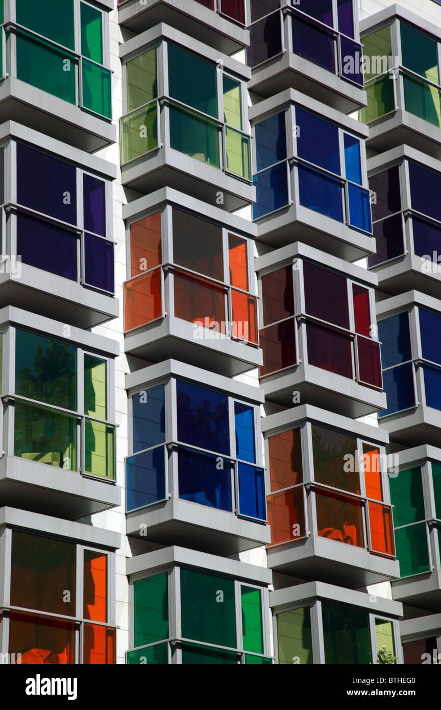 Coloured Glass in the windows of the Hesperia Hotel, Bilbao Stock Photo