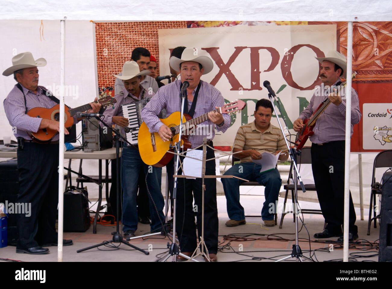 Honduran musical group performing in Santa Rosa de Copan, Honduras - Stock Image