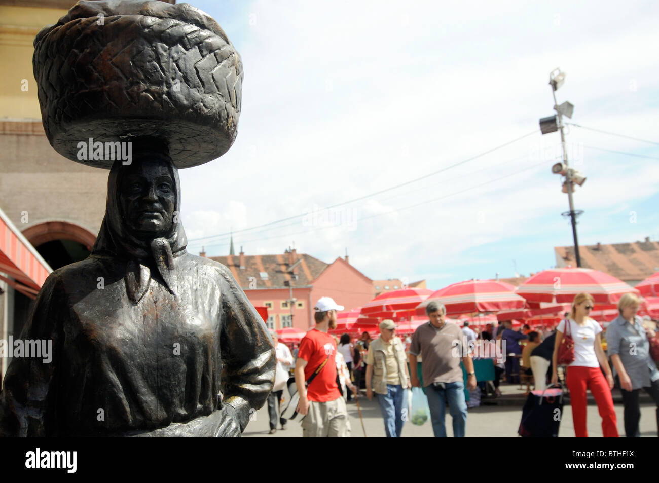 Ivan Mestrovic statue of a woman. Dolac Market. Zagreb, Croatia. Stock Photo