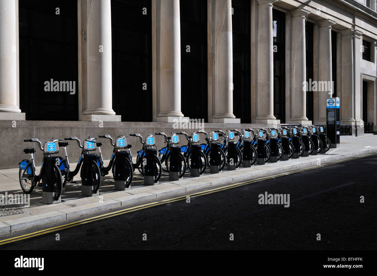 Row of bicycles at a docking point, Barclays TFL Cycle Hire Scheme, London, United Kingdom - Stock Image