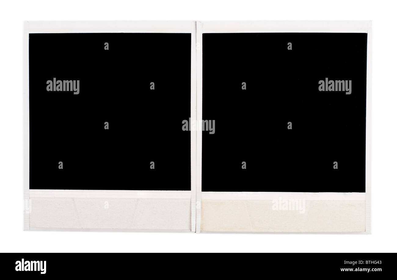 Black photo frames isolated on white background - Stock Image