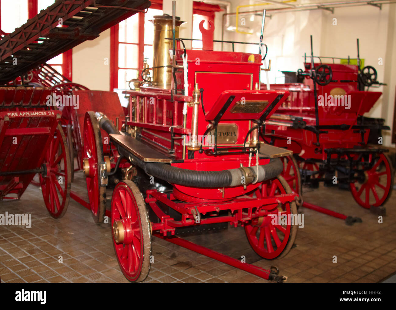 Old fire engines at the London Fire Brigade Museum - Stock Image