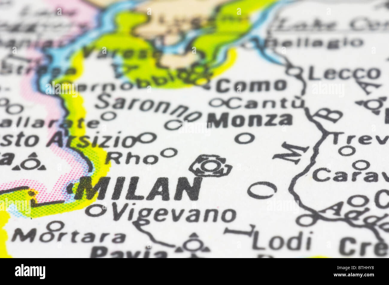 Map Of Italy Milan.Close Up Of Milan On Map City Of Italy Stock Photo 32349388 Alamy
