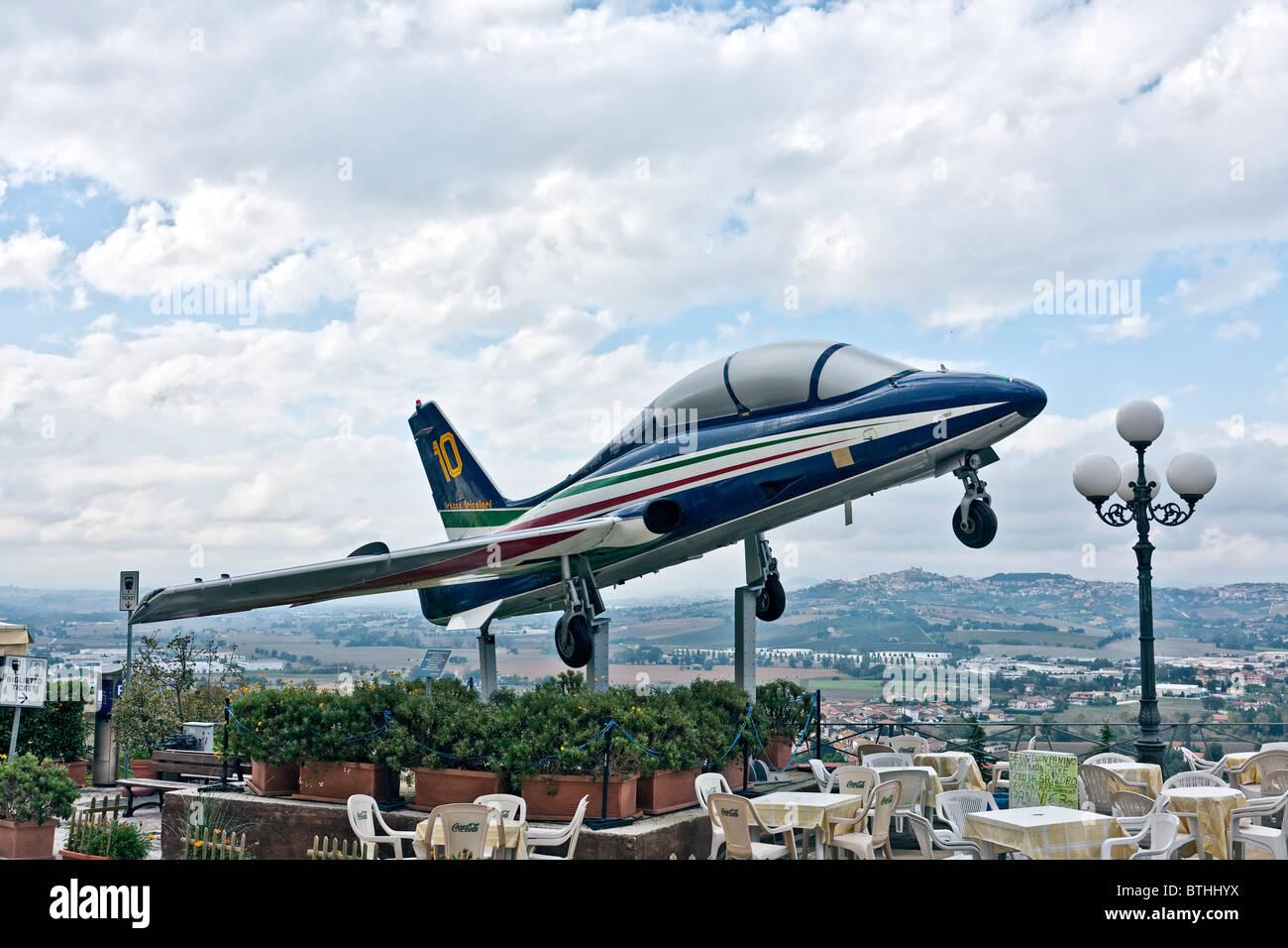 Aermacchi MB-339PAN, Frecce Tricolori, Italian Arcobatic Airforce team, in Loreto, Ancona, Marche, Italy Stock Photo