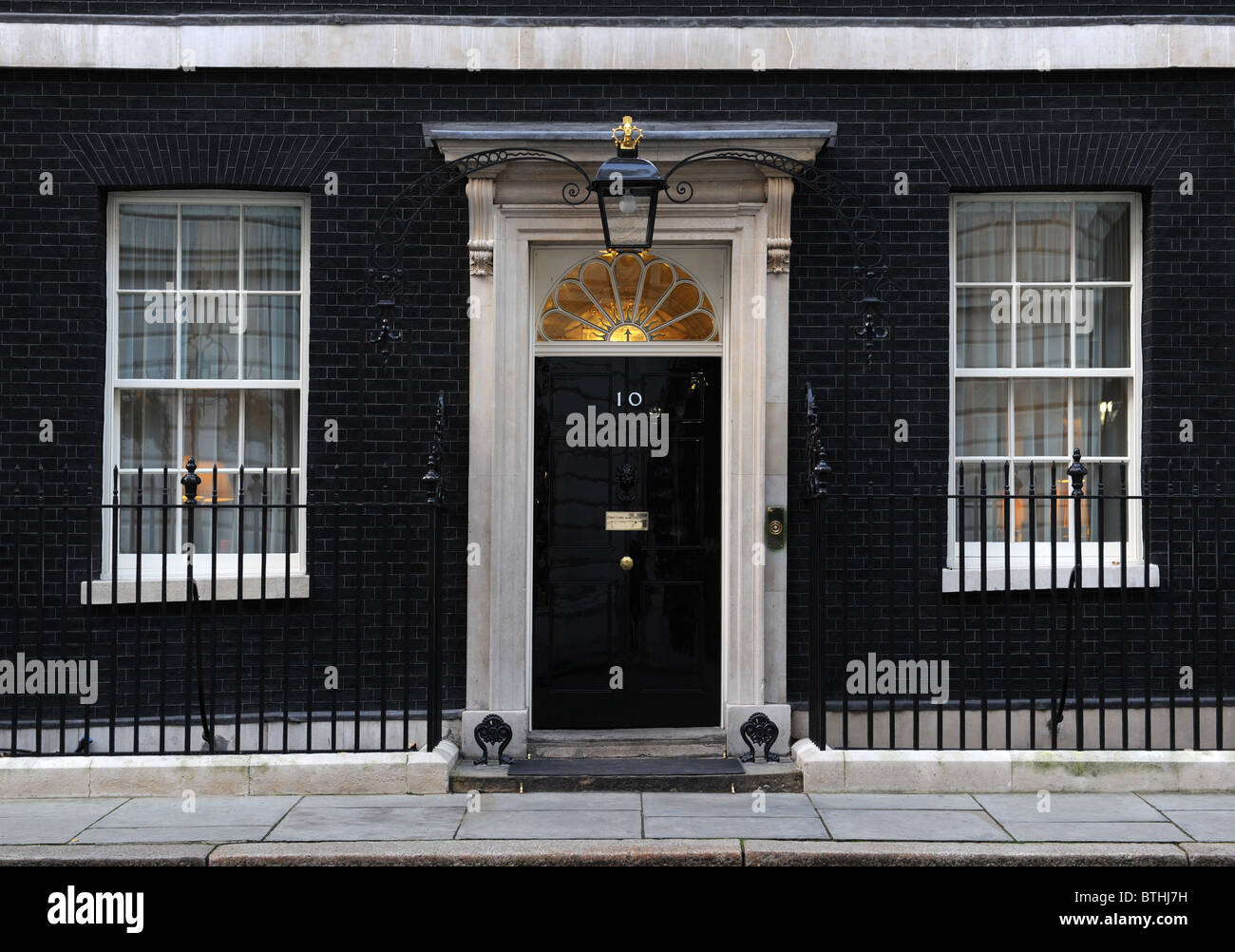 Exterior of 10 Downing Street , London  Home of the Prime Minister of Great Britain - Stock Image