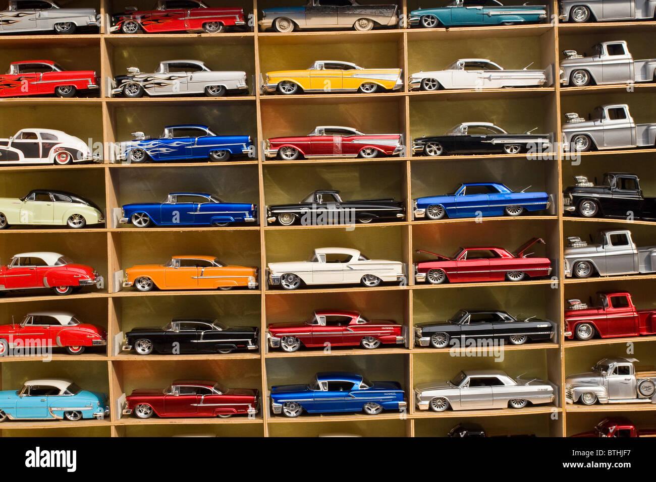 Shadowbox of diecast model cars. Stock Photo