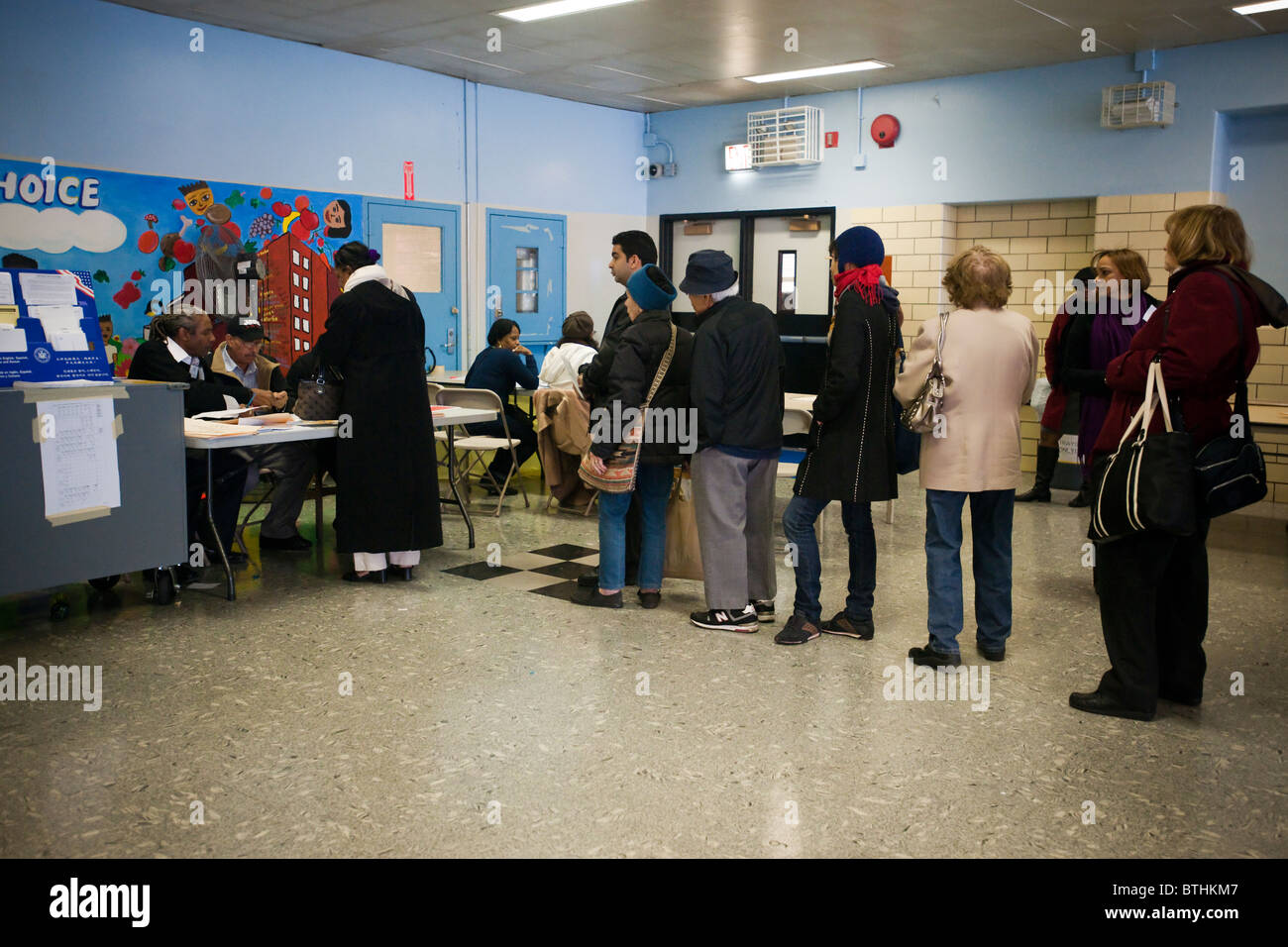 Voters on line to cast their ballots in New York in Washington Heights on election day Stock Photo