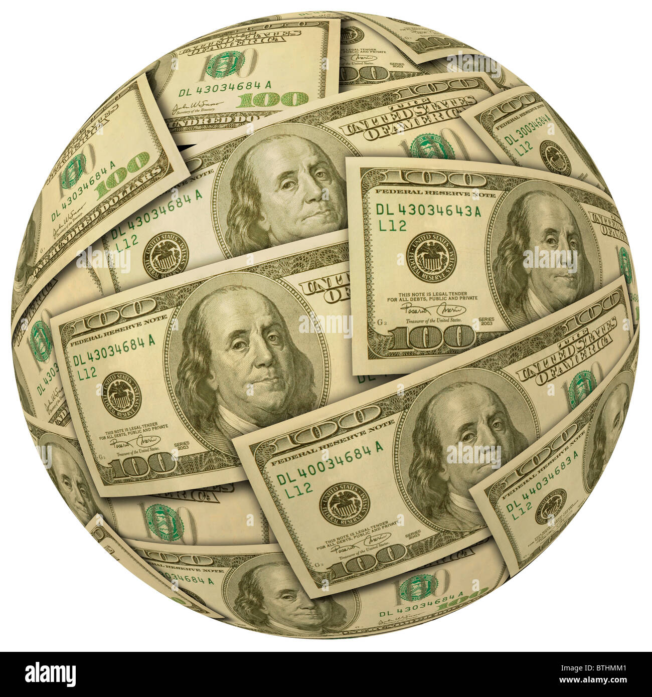Cash Ball Or Sphere Of 100 Dollar Banknotes Bills Currency
