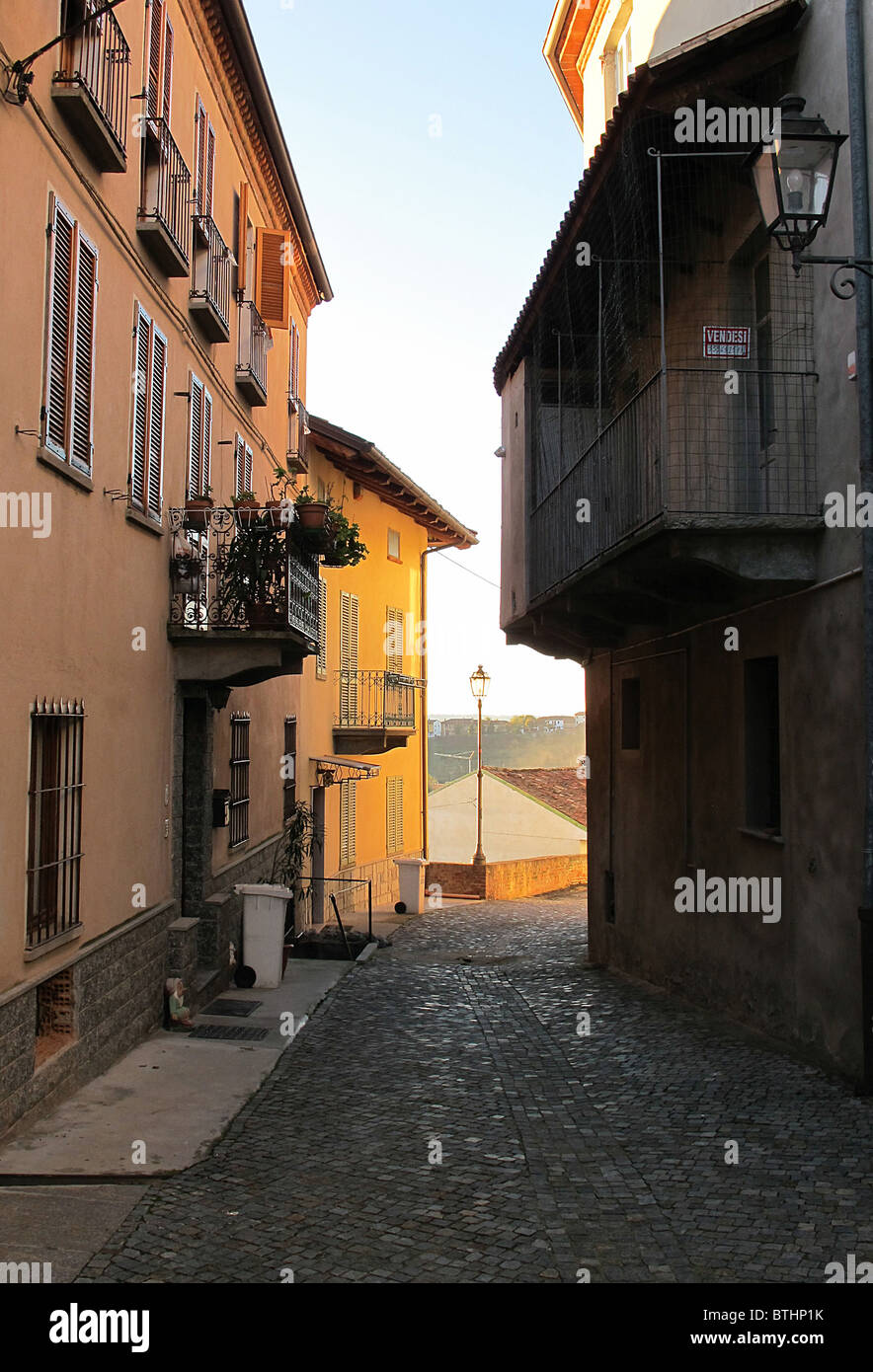 A back street in the hill town of Govone  Piedmont Italy. - Stock Image