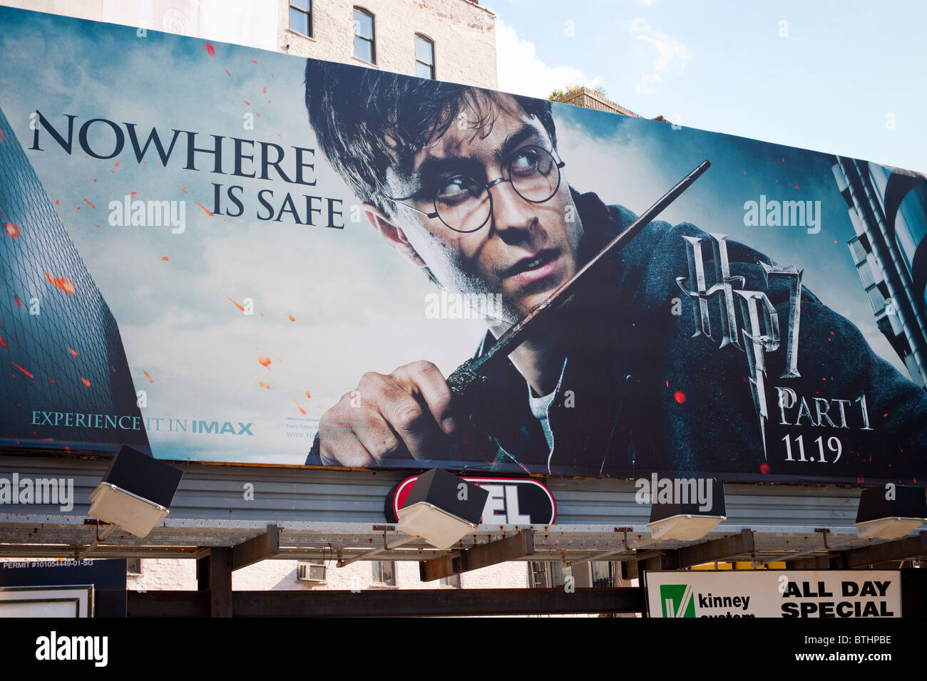 A billboard advertising the new Harry Potter film, 'Harry Potter and the Deathly Hallows', seen on in New - Stock Image