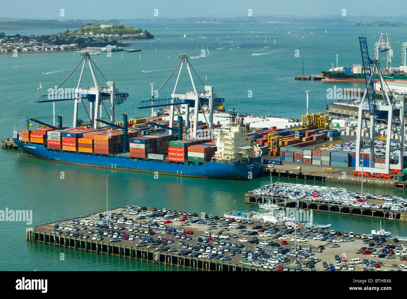 View of Port of Auckland, Auckland, New Zealand - Stock Image