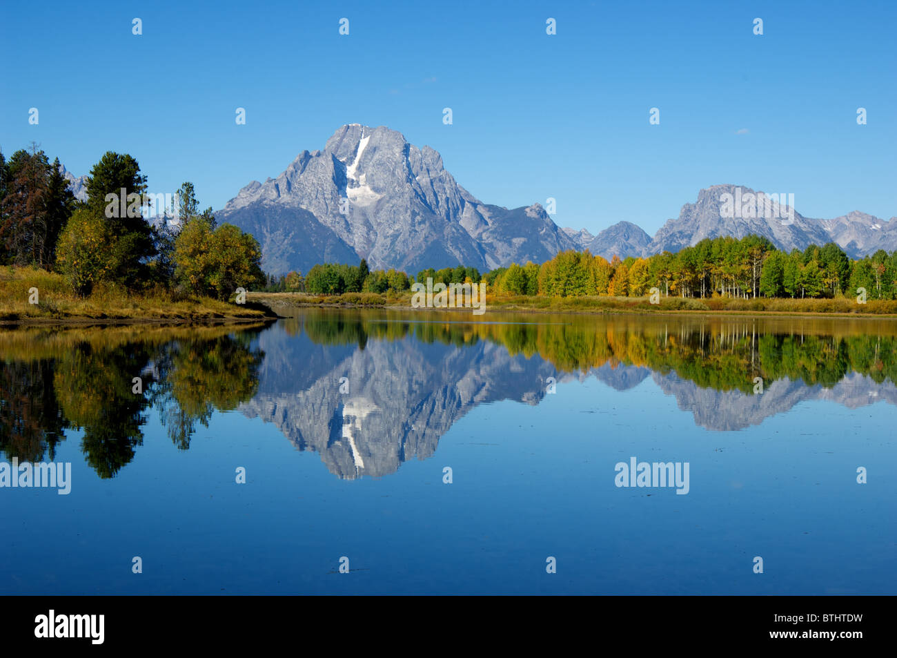 Oxbow Lake, Grand Teton National Park, with Mt. Moran in the background - perfect reflection. - Stock Image